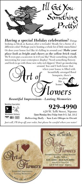 Art of Flowers sample ads & pin-back badge