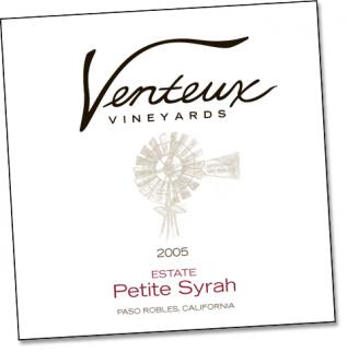 Wine Label Example from Venteux Vineyeards 2005 Estate Petite Syrah Paso Robles, California